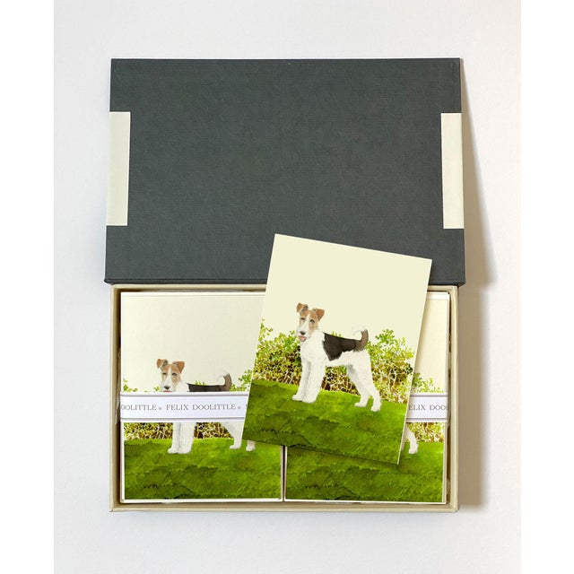 Contemporary Fox Terrier Boxed Stationery - Folded Cards - Set of 10 For Sale - Image 3 of 6