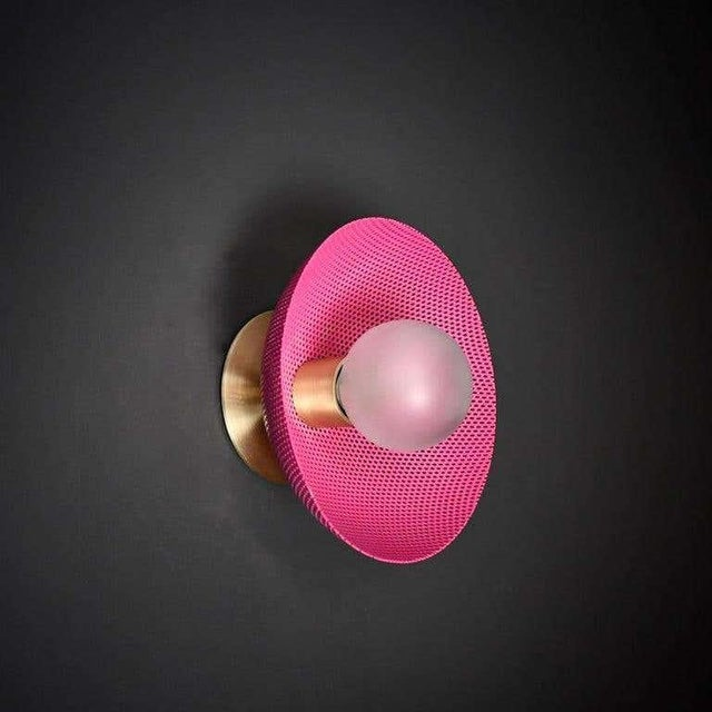 Blueprint Lighting Centric Wall Sconce in Fuschia Enamel Mesh & Brass by Blueprint Lighting For Sale - Image 4 of 4