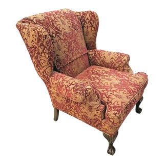 Chippendale Wingback Burnout Velvet Damask Mahogany Ball & Claw Down Armchair For Sale