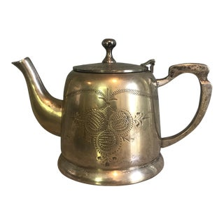 Vintage Etched Silver Plated Teapot