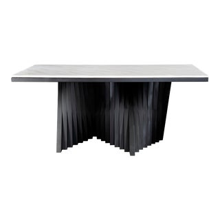 Modern Waterfall Marble Top Gold Dining Table For Sale