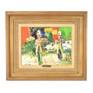 """1965 French Impressionist """"Bali Dancers"""" Oil Painting by Yolande Ardissone For Sale"""