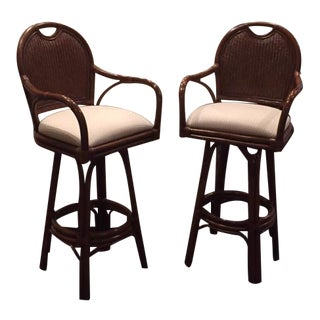 "30"" Swivel Barstools with Attached Cushions - A Pair"