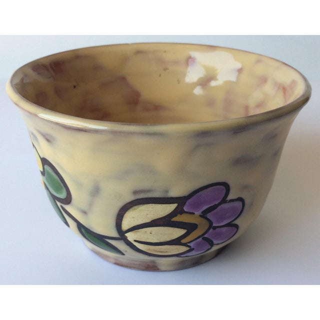Midcentury Floral Designed Ceramic Bowl Signed Miclay For Sale - Image 4 of 7