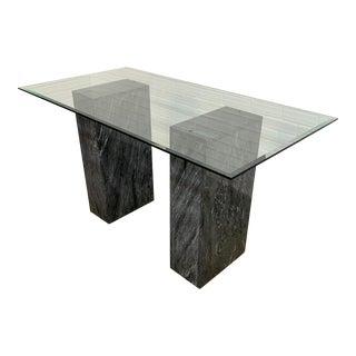 Modernist Grigo Carnico Marble Pedestal Desk For Sale