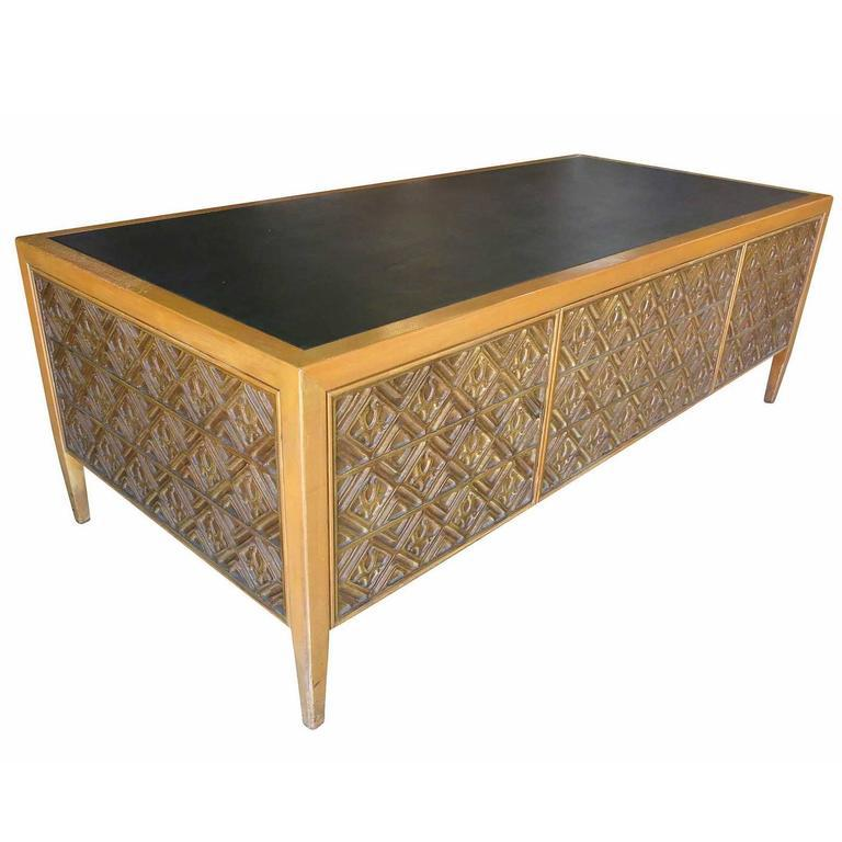Paul Evans Style Brutalist Executive Desk With Matching Credenza. This  Large 7 Foot Wide Desk