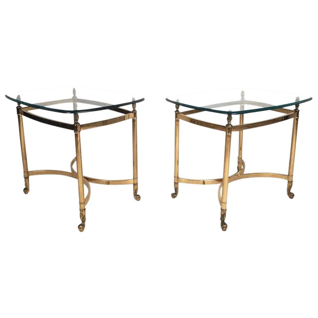 Vintage Modern Brass End Tables With Glass Tops A Pair Chairish