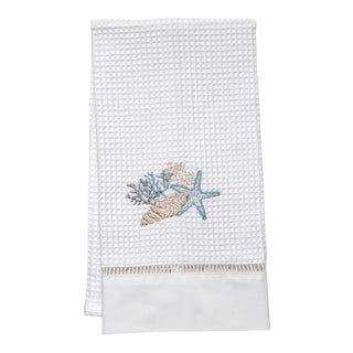 Shell Collection Guest Towel White Waffle Weave, Ladder Lace, Embroidered For Sale