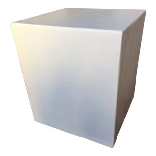 Minimalist White Plaster Cube Side Table For Sale