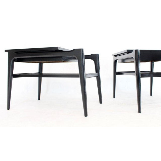 Black Pair of Black Ebonised One Drawer End Nightstands With Magazine Rack Sculptural For Sale - Image 8 of 13