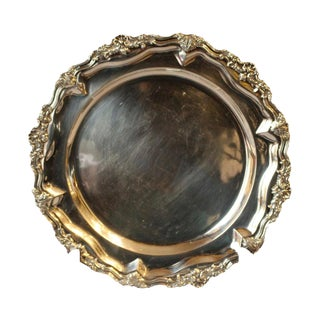 19th Century Rococo Sterling Silver Salver For Sale