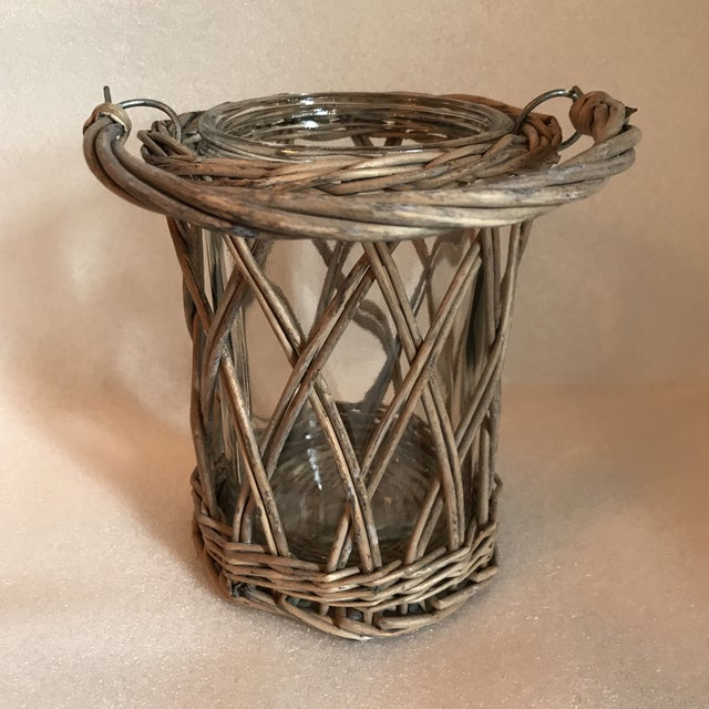 Adirondack Wicker and Glass Vase With Handle For Sale - Image 3 of 8