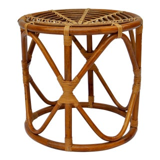 Mid 20th Century Vintage Ficks and Reed Style Rattan and Bamboo Stool For Sale