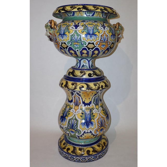Montagnon 1880s French Blue, Yellow, Green Majolica 2 Pc. Jardinière on Stand For Sale - Image 10 of 13