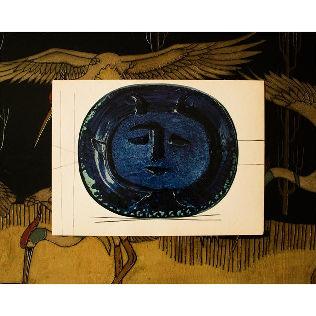 Pablo Picasso 1955 Pablo Picasso Satyr in Blue Ceramic Plate, Original Period Swiss Lithograph For Sale - Image 4 of 6