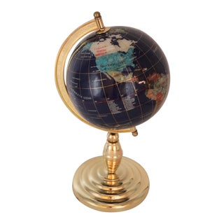Vintage Blue Lapis World Globe on Brass Stand With Semiprecious Gems For Sale