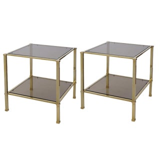 Good Quality Pair of French 1970s Solid Brass & Smoked Glass Square Side Tables For Sale
