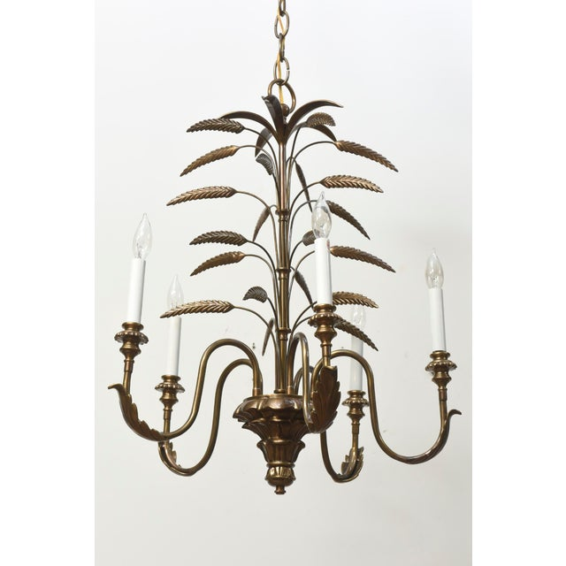 Contemporary Contemporary Five Light Brass Wheat Chandelier For Sale - Image 3 of 5