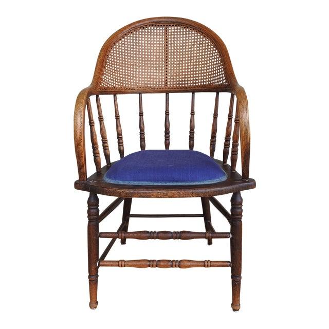 Antique Oak Cane Back Chair For Sale