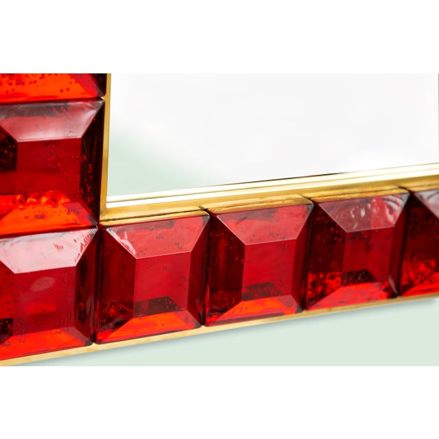 Metal Contemporary Red Diamond Murano Glass Mirror For Sale - Image 7 of 9