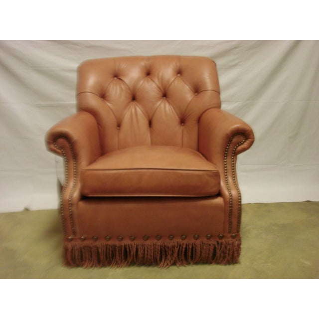 Leather Chairs With Tufting & Fringe - Pair - Image 5 of 7