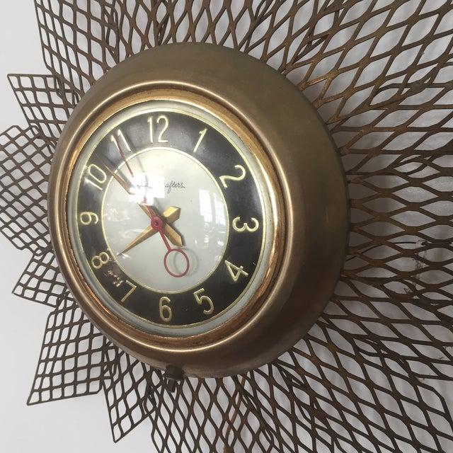 Brass Starburst Wall Clock - Image 3 of 7