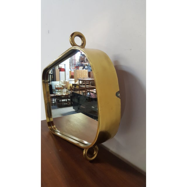 Vintage Brass Nautical Mirror For Sale - Image 4 of 11