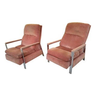 Milo Baughman Chrome Framed Recliner Chairs, a Pair For Sale