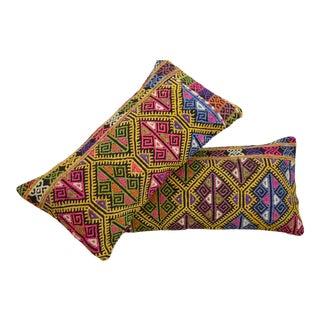 A Pair Wedding Pillow Covers Vintage Turkish Kilim Lumbar Sham -