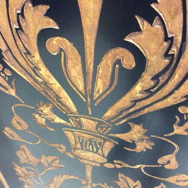 Black Lacquer & Gold Leaf Chinoiserie Wood Carved 3-Panel Screen Room Divider For Sale - Image 5 of 11