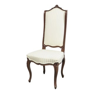 Louis XV Style White Upholstery Oak Side Chair For Sale