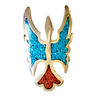"""Vintage Sterling Turquoise and Coral """"Thunderbird"""" Pointer Ring For Sale"""