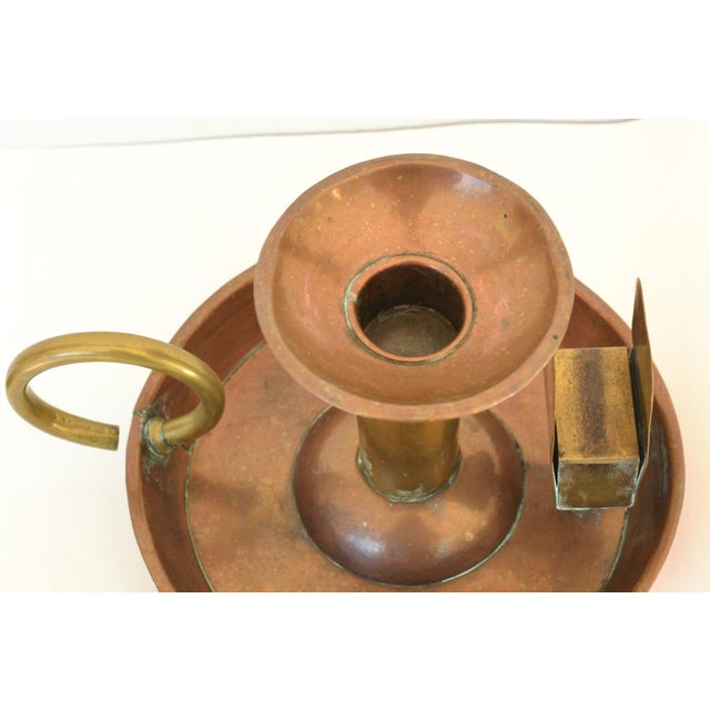 Large Antique Copper Candle Holder For Sale - Image 4 of 9