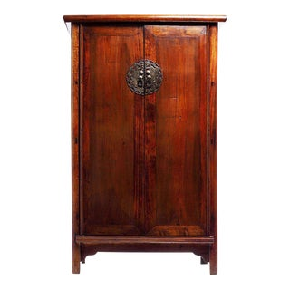 Large Armoire With Bronze Figure Medallion From 19th Century, China For Sale
