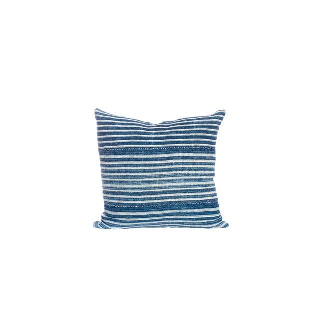 Vintage Indigo Striped Pillow For Sale