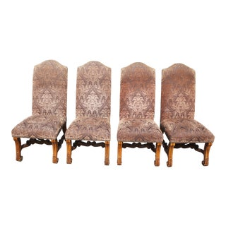 Late 20th Century Vintage Tuscan Old World Rustic Acanthus Dining Chairs - Set of 4 For Sale