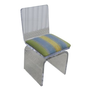 1990s Vintage Thick High Quality Lucite Vanity Chair For Sale