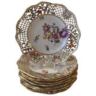 Early 20th Century Dresden Limbach German Reticulated Hand Painted Floral Plates - Set of 8 For Sale