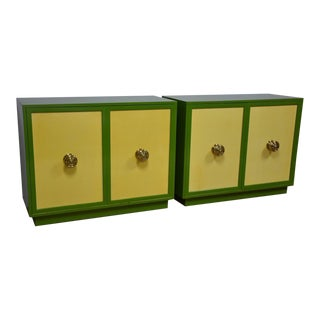 Harvey Probber Custom Green & Yellow Chests- a Pair For Sale