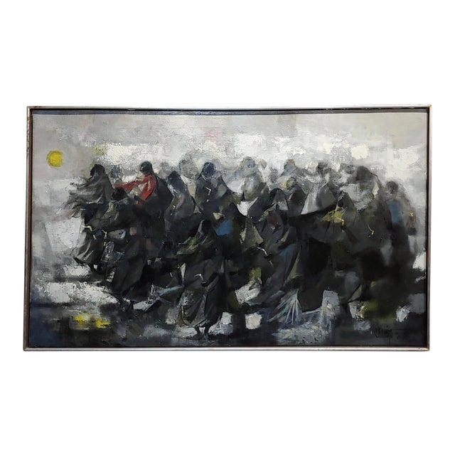 Juan Ruiz Chamizo -Procession of Nuns - Oil Painting C.1965 For Sale