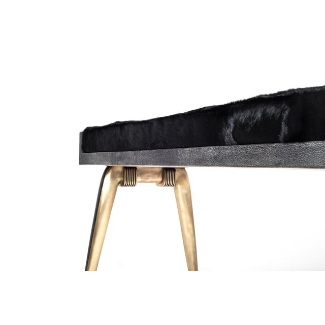 R & Y Augousti Pianist Bench in Coal Black Shagreen and Bronze-Patina Brass by R&y Augousti For Sale - Image 4 of 8
