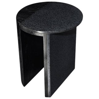 Gibbous Black Lava Side Table by Robert Sukrachand, Made in Usa For Sale