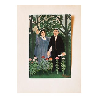 "1940s H. Rousseau, Original ""Portrait of Apollinaire and Marie Laurencin"" Lithograph For Sale"
