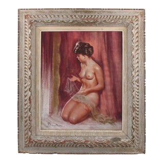 French Pio Santini Female Nude With Lace Pastel Painting For Sale