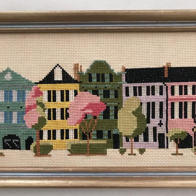 "Americana Mid-Century ""Rainbow Row"" Framed Needlepoint Art For Sale - Image 3 of 5"