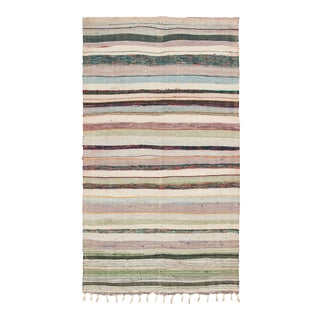 """Mid 20th Century Moroccan Rag Rug - 4'3"""" X 7'10"""" For Sale"""