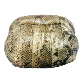 Meyer Metallic Gold Python Clutch For Sale