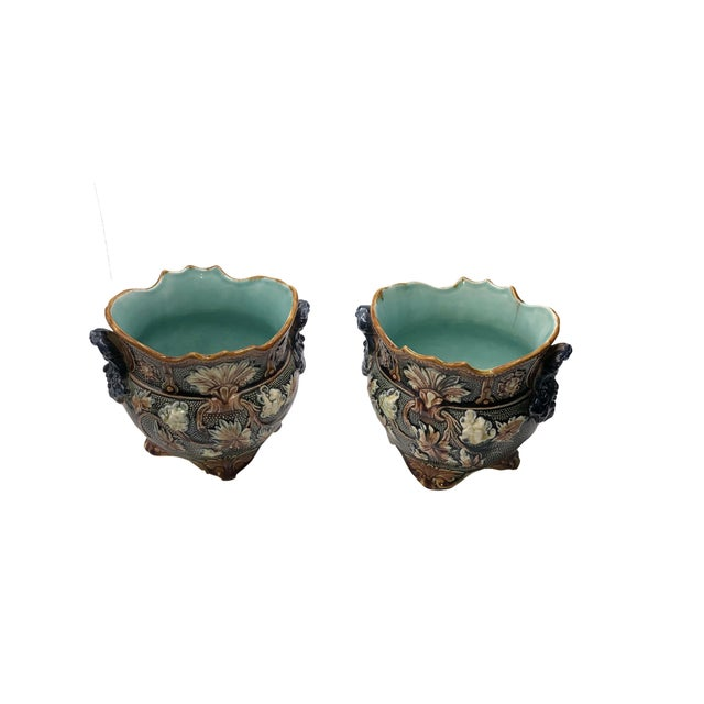 French Antique Majolica Planters - a Pair For Sale - Image 10 of 10