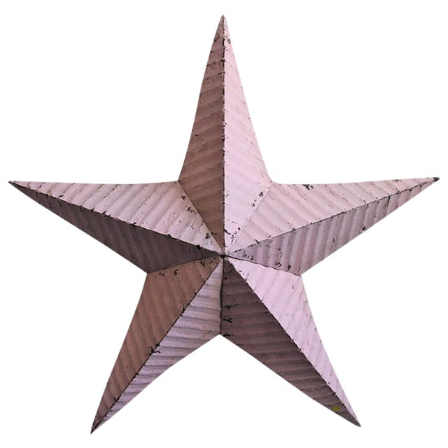 Large Pink Barn Metal Star For Sale