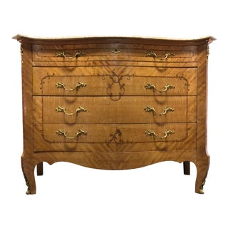 Large French Provincial Louis XV Style Inlaid Satinwood Marble Top Commode Chest For Sale